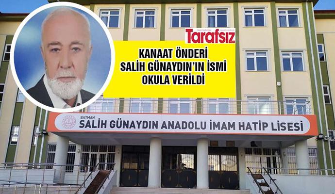 KANAAT ÖNDERİ SALİH GÜNAYDIN'IN İSMİ OKULA VERİLDİ