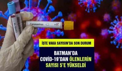 BATMAN'DA COVİD-19'DAN ÖLENLERİN SAYISI 5'E YÜKSELDİ