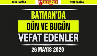 BATMAN'DA VEFAT EDENLER