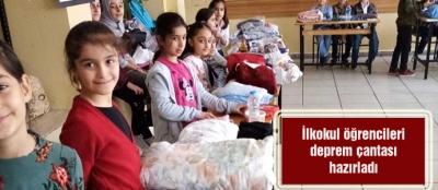 İlkokul öğrencileri deprem çantası hazırladı