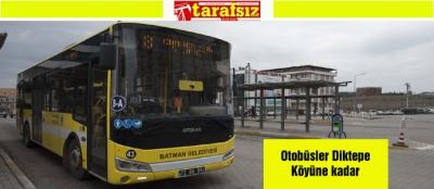 Otobüsler Diktepe Köyüne kadar