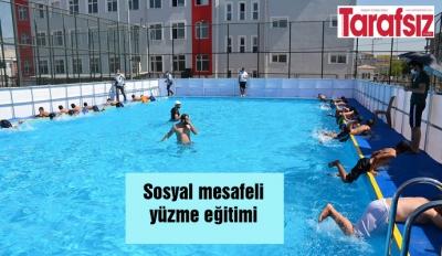 Sosyal mesafeli yüzme eğitimi